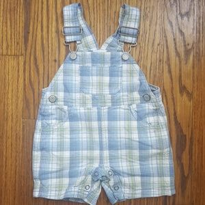 Baby Boy Overalls Shorts Blue Madras Plaid